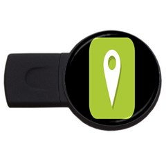 Location Icon Graphic Green White Black Usb Flash Drive Round (2 Gb) by Alisyart