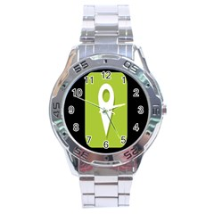 Location Icon Graphic Green White Black Stainless Steel Analogue Watch by Alisyart