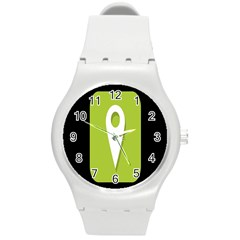 Location Icon Graphic Green White Black Round Plastic Sport Watch (m) by Alisyart