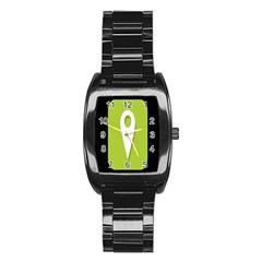 Location Icon Graphic Green White Black Stainless Steel Barrel Watch by Alisyart