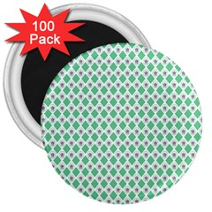 Crown King Triangle Plaid Wave Green White 3  Magnets (100 Pack) by Alisyart