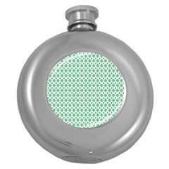 Crown King Triangle Plaid Wave Green White Round Hip Flask (5 Oz) by Alisyart