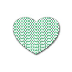 Crown King Triangle Plaid Wave Green White Heart Coaster (4 Pack)  by Alisyart