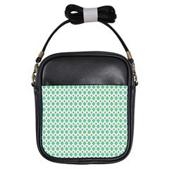 Crown King Triangle Plaid Wave Green White Girls Sling Bags by Alisyart