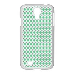 Crown King Triangle Plaid Wave Green White Samsung Galaxy S4 I9500/ I9505 Case (white) by Alisyart