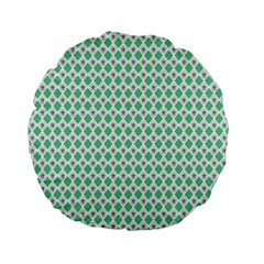 Crown King Triangle Plaid Wave Green White Standard 15  Premium Flano Round Cushions by Alisyart