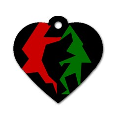Ninja Graphics Red Green Black Dog Tag Heart (one Side) by Alisyart