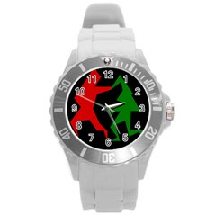 Ninja Graphics Red Green Black Round Plastic Sport Watch (l) by Alisyart