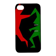 Ninja Graphics Red Green Black Apple Iphone 4/4s Hardshell Case With Stand by Alisyart