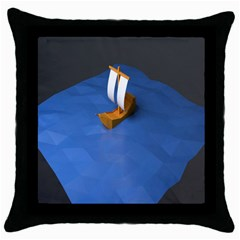 Low Poly Boat Ship Sea Beach Blue Throw Pillow Case (Black)