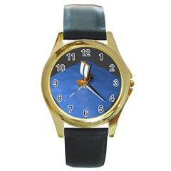 Low Poly Boat Ship Sea Beach Blue Round Gold Metal Watch by Alisyart