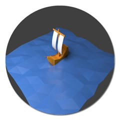 Low Poly Boat Ship Sea Beach Blue Magnet 5  (round) by Alisyart