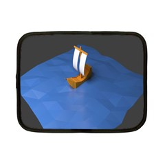 Low Poly Boat Ship Sea Beach Blue Netbook Case (small)  by Alisyart