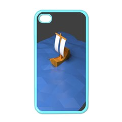 Low Poly Boat Ship Sea Beach Blue Apple Iphone 4 Case (color) by Alisyart