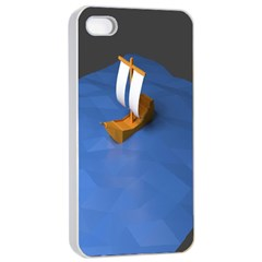 Low Poly Boat Ship Sea Beach Blue Apple Iphone 4/4s Seamless Case (white) by Alisyart