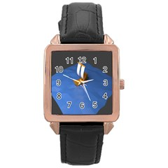 Low Poly Boat Ship Sea Beach Blue Rose Gold Leather Watch  by Alisyart