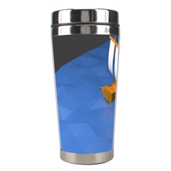 Low Poly Boat Ship Sea Beach Blue Stainless Steel Travel Tumblers by Alisyart