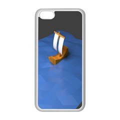 Low Poly Boat Ship Sea Beach Blue Apple Iphone 5c Seamless Case (white) by Alisyart