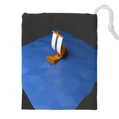 Low Poly Boat Ship Sea Beach Blue Drawstring Pouches (xxl) by Alisyart