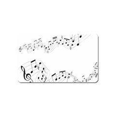 Music Note Song Black White Magnet (name Card) by Alisyart
