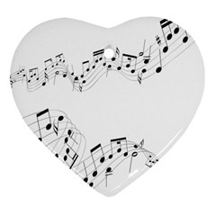 Music Note Song Black White Heart Ornament (two Sides) by Alisyart