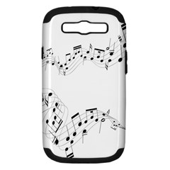 Music Note Song Black White Samsung Galaxy S Iii Hardshell Case (pc+silicone) by Alisyart