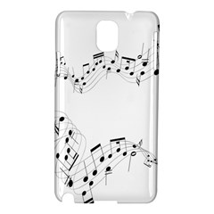 Music Note Song Black White Samsung Galaxy Note 3 N9005 Hardshell Case by Alisyart