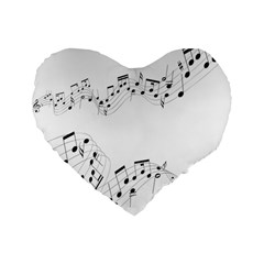 Music Note Song Black White Standard 16  Premium Flano Heart Shape Cushions by Alisyart