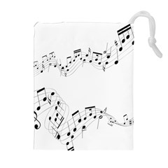 Music Note Song Black White Drawstring Pouches (extra Large) by Alisyart