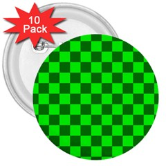 Plaid Flag Green 3  Buttons (10 Pack)  by Alisyart