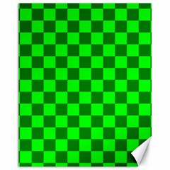 Plaid Flag Green Canvas 11  X 14   by Alisyart