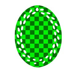Plaid Flag Green Oval Filigree Ornament (two Sides) by Alisyart
