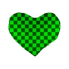 Plaid Flag Green Standard 16  Premium Flano Heart Shape Cushions by Alisyart