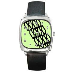 Polygon Abstract Shape Black Green Square Metal Watch by Alisyart