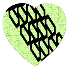 Polygon Abstract Shape Black Green Jigsaw Puzzle (heart) by Alisyart