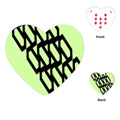 Polygon Abstract Shape Black Green Playing Cards (heart)  by Alisyart