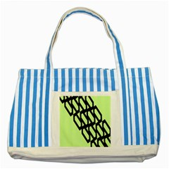Polygon Abstract Shape Black Green Striped Blue Tote Bag by Alisyart