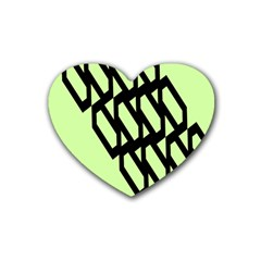 Polygon Abstract Shape Black Green Heart Coaster (4 Pack)  by Alisyart