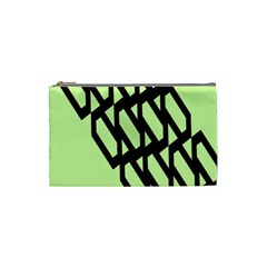 Polygon Abstract Shape Black Green Cosmetic Bag (small)  by Alisyart