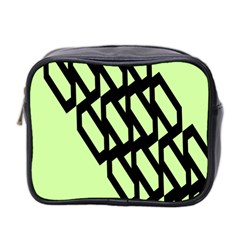 Polygon Abstract Shape Black Green Mini Toiletries Bag 2 Side by Alisyart
