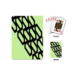 Polygon Abstract Shape Black Green Playing Cards (mini)  by Alisyart