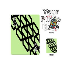 Polygon Abstract Shape Black Green Playing Cards 54 (mini)  by Alisyart