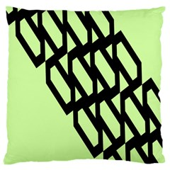 Polygon Abstract Shape Black Green Large Cushion Case (one Side) by Alisyart