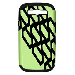 Polygon Abstract Shape Black Green Samsung Galaxy S Iii Hardshell Case (pc+silicone) by Alisyart
