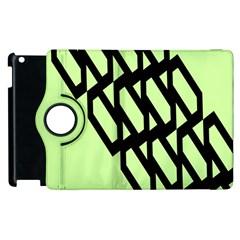 Polygon Abstract Shape Black Green Apple Ipad 3/4 Flip 360 Case by Alisyart