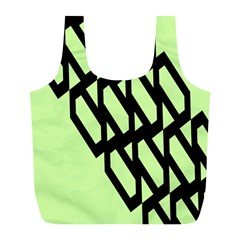 Polygon Abstract Shape Black Green Full Print Recycle Bags (l)  by Alisyart