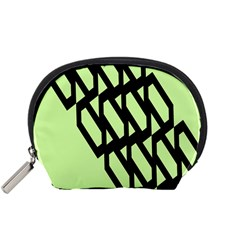 Polygon Abstract Shape Black Green Accessory Pouches (small)  by Alisyart