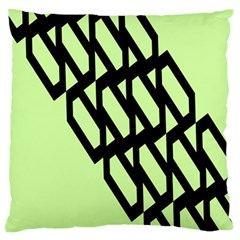 Polygon Abstract Shape Black Green Large Flano Cushion Case (one Side) by Alisyart