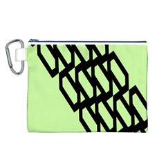 Polygon Abstract Shape Black Green Canvas Cosmetic Bag (l) by Alisyart