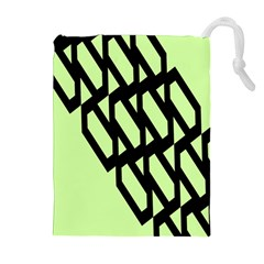 Polygon Abstract Shape Black Green Drawstring Pouches (extra Large) by Alisyart